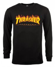 Thrasher Long Sleeve T Shirt Flame - Black